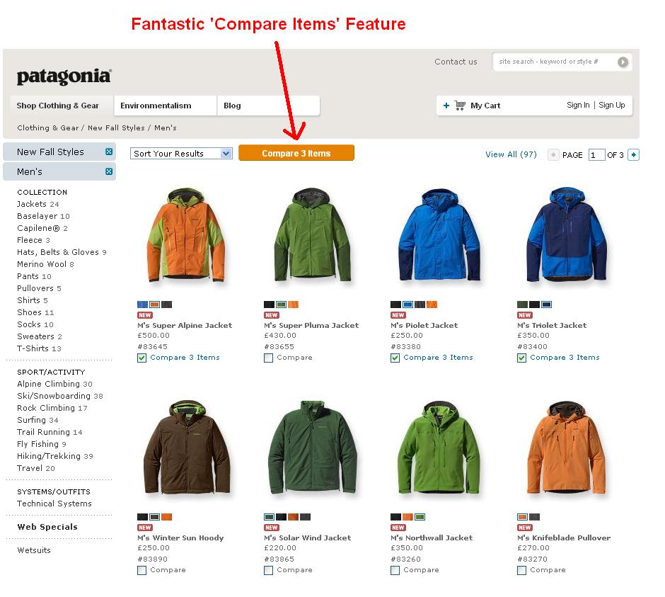 Patagonia - Compare feature